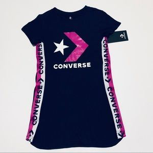CONVERSE TWO-TONE GIRLS NAVY BLUE TRACK DRESS